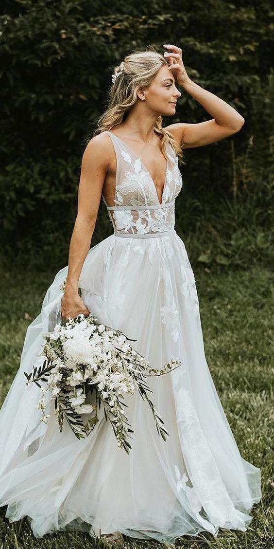 6345cc26847d y Wedding Dress, Sleeveless Wedding Dress, y Deep V Neck Delicate Lace