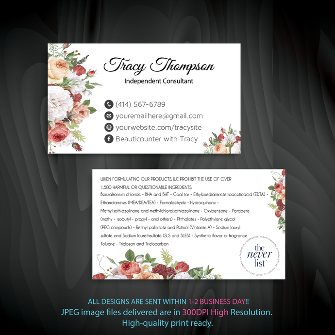 Beautycounter Business Card, Personalized Beautycounter Business Card, Printable