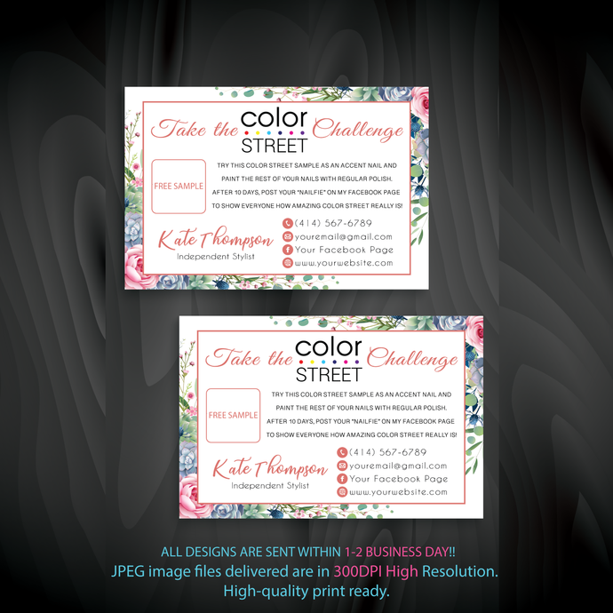 Color Street Free Sample, Personalied Color Street Twosie Cards, Watercolor