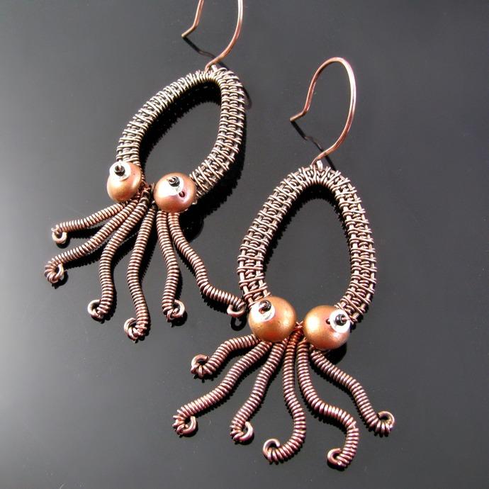 Squidlings - wire woven squid earrings