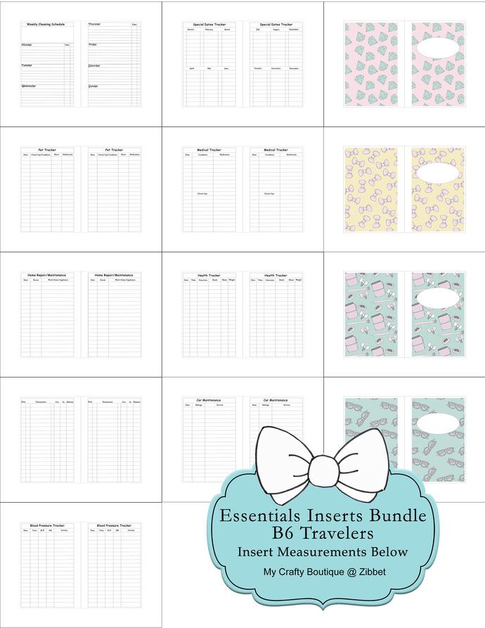"""B6 Travelers Notebook Essentials Inserts Bundle"" Printable Download"