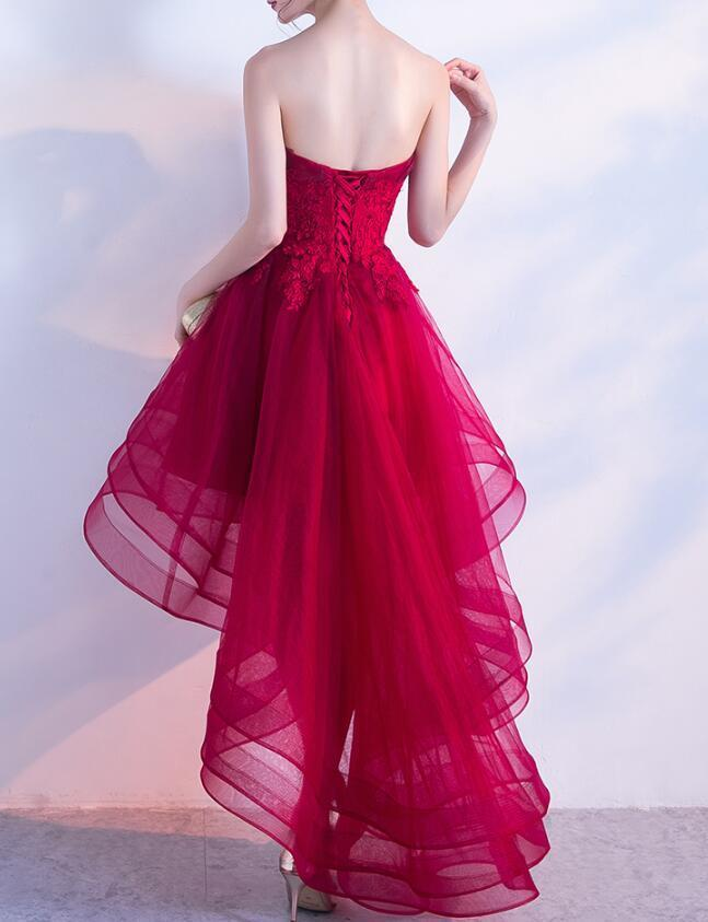 Red High Low Tulle Chic Party Dress, Homecoming Dresses 2019