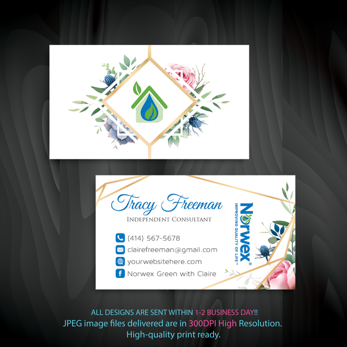 Norwex Business Card, Custom Business Card, Norwex Green Cleaning business