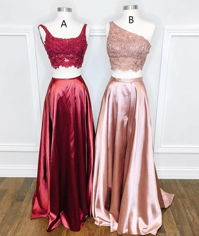 Two Piece Appliques Prom Dress, Long Evening Party Dress, Sexy Prom Dresses