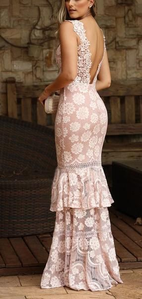 Dusty Pink Lace Tiered Mermaid Boho Long Prom Dresses