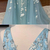 Blue Tulle V Neck Long Beaded Lace Applique Senior Prom Dress, Long Evening