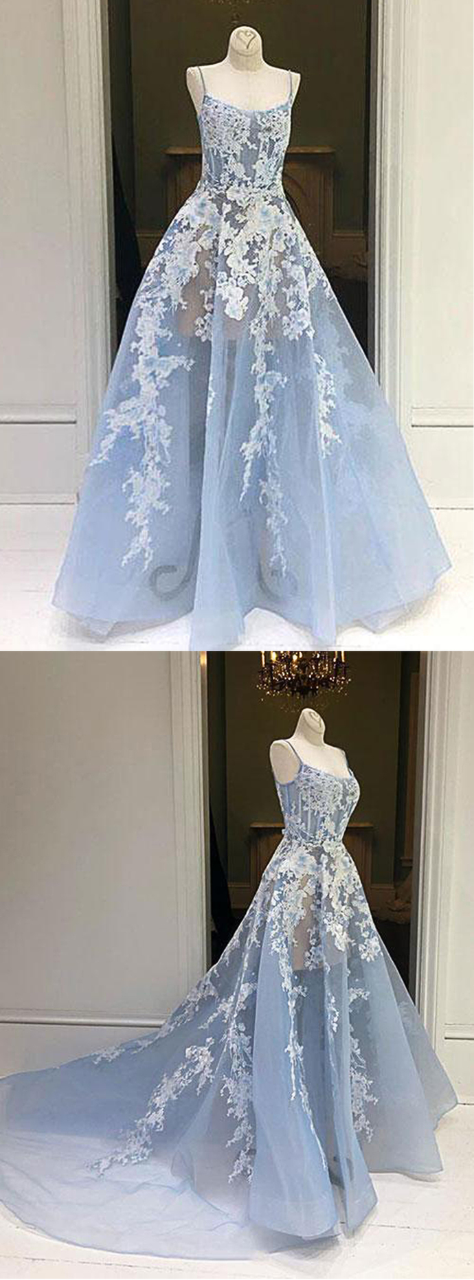Blue Tulle Sweep Train Spaghetti Straps Evening Dress, Prom Dress With Applique