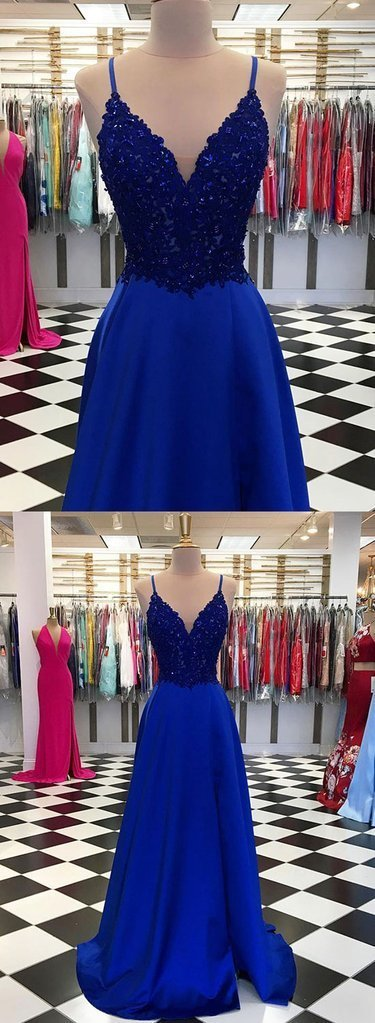Royal Blue Spaghetti Straps Lace V Neck Long Slit Prom Dress, Evening Dress