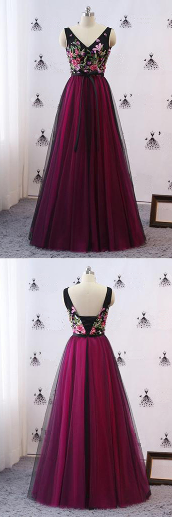 Black Tulle Vintage Embroidery Floral Long Formal Prom Dress BD2474