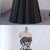 Black Tulle Custom Strapless Long Lace Applique Evening Dress, Lace Up Formal