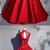 Red Satin High Neck Beaded Formal Prom Dress, Halter Evening Dress BD2476
