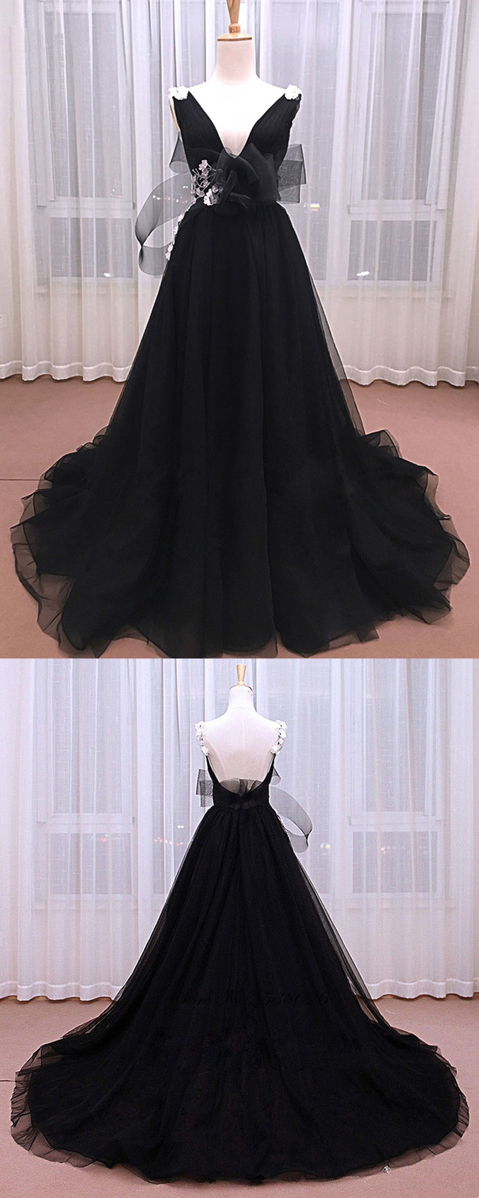 Unique Black Tulle V Neck Long Senior Prom Dress With White Lace Applique BD2478