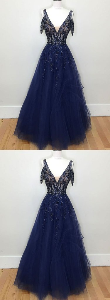 Dark Blue Tulle V Neck Lace Evening Dress, Beaded Prom Dress BD2479