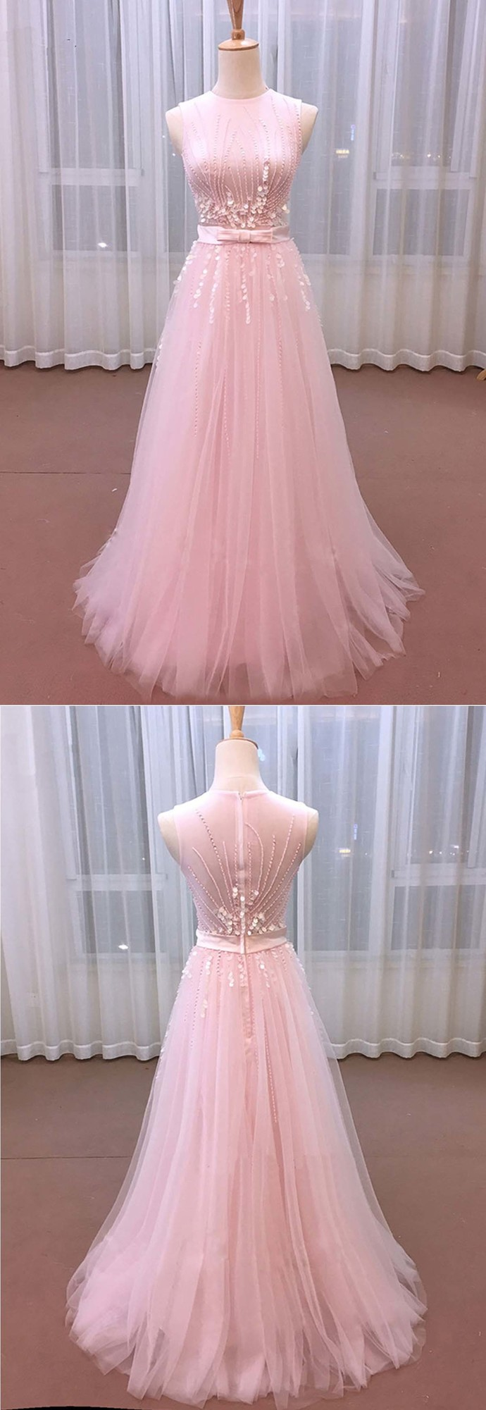 Pink Tulle Sequins Long Sweet 16 Prom Dress With Bowed Sash BD2480