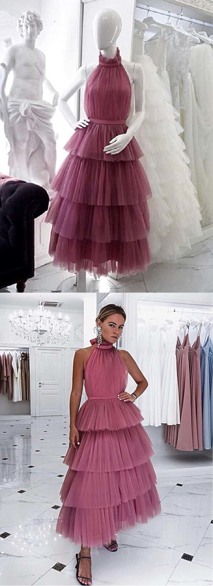 Tulle Backless Layered Prom Dress, Party Dress BD2482