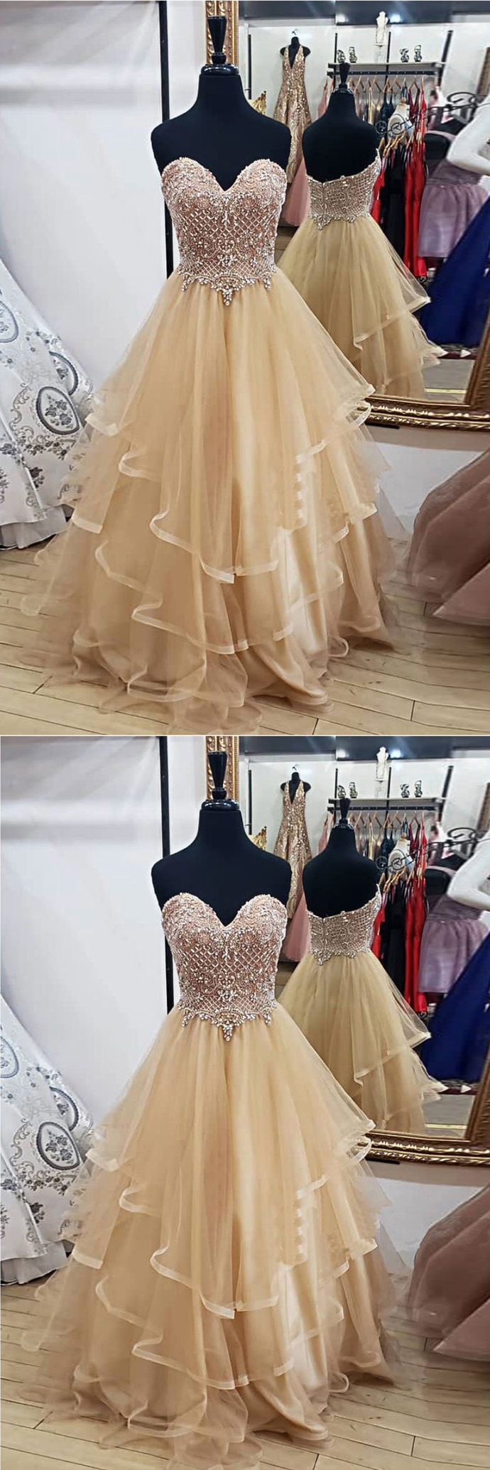 Tulle Sweetheart Long Prom Dress with Beading, Strapless Formal Dress BD2483