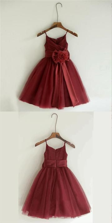 Burgundy Spaghetti Straps Pleated Zipper Up A-Line Tulle Flower Girl Dresses