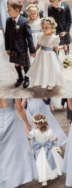 Vintage White Satin Chiffon Short Bubble Sleeves A-line Flower Girl Dresses