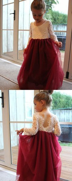 A-Line Round Neck Long Sleeves Burgundy Flower Girl Dress with Lace