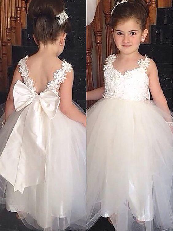 Fashion Ball Gown Floor-Length Bowknot Sleeveless Sweetheart Tulle Flower Girl