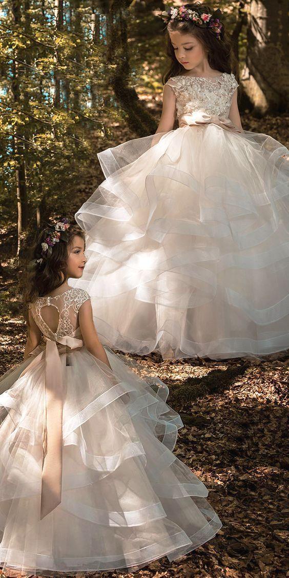 Pretty Tulle & Elasticated Net Bateau Neckline Ball Gown Flower Girl Dresses