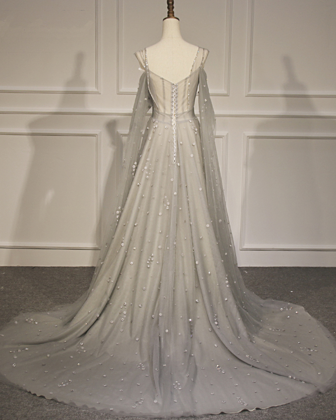 Gray Tulle Beaded Long A Line Custom Made Prom Dress With Sleeves BD2487