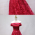 Red Lace Strapless Long Off Shoulder Line Prom Dress, Red Evening Dress BD2488