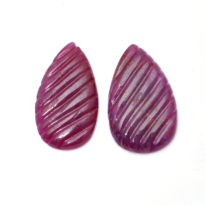 Natural Ruby 17 x 10 mm Carved Leaf Pear Precious Hand Polished Loose Gemstone