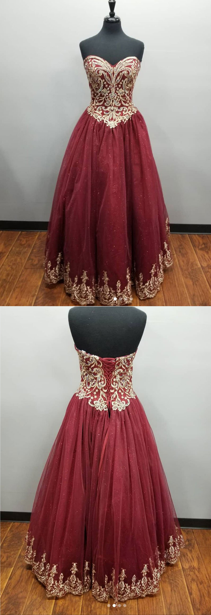 Sweetheart burgundy tulle long a line evening dress, gold lace beaded prom dress