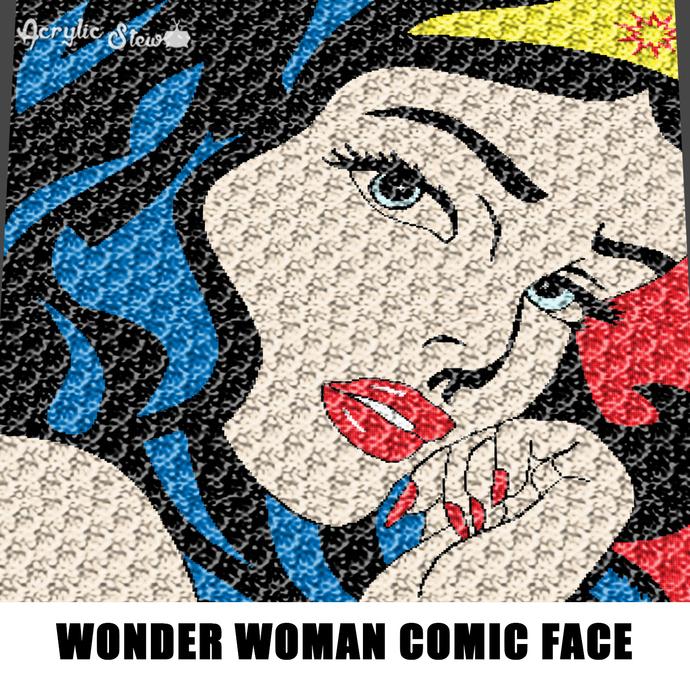 Wonder Woman Face Comic Strip Art crochet graphgan blanket pattern; afghan;