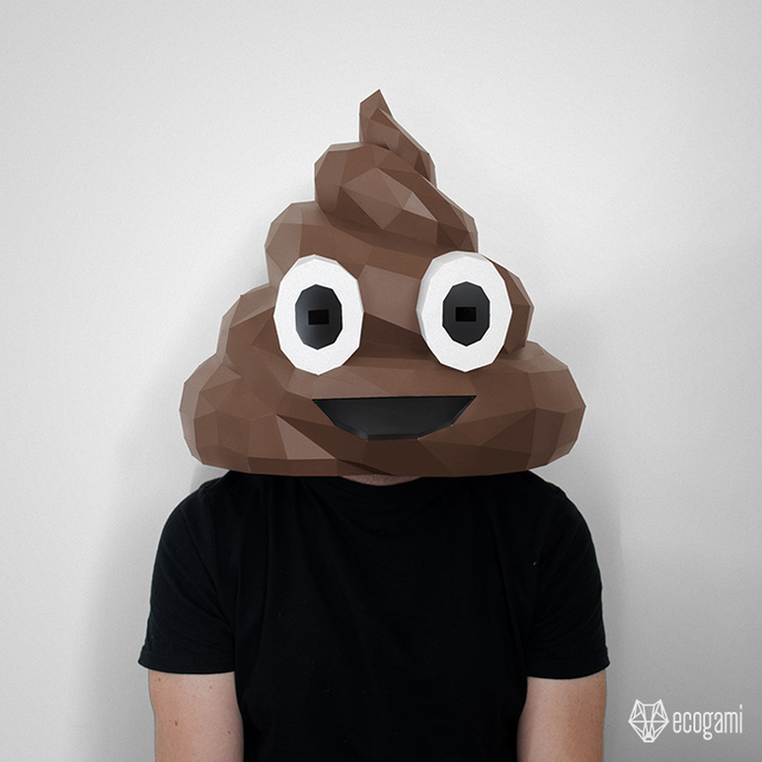 Printable papercraft mask of Poo emoji, perfect for your disguise