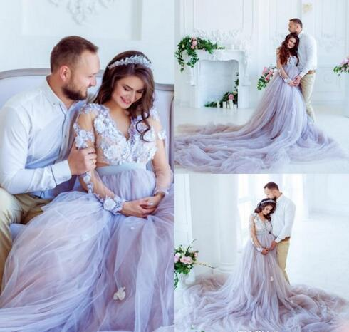 Plus Size Lavender Country Empire A Line Wedding Dresses For Maternity Long  Sleeves Appliques Maternity Bridal Gowns Bridal Gowns Beach