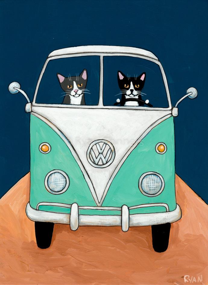 Tuxedo Road Trip Cats Original Cat Folk Art Painting