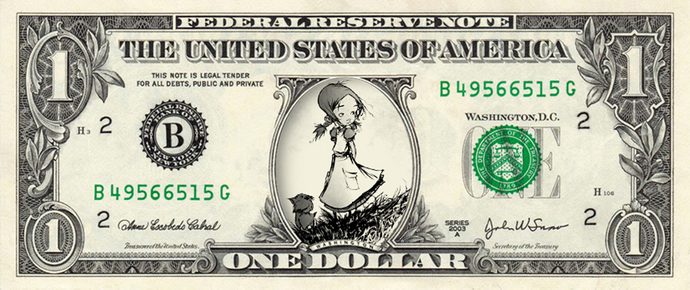 DOROTHY GALE on a REAL Dollar Bill Cash Money Memorabilia Novelty Collectible