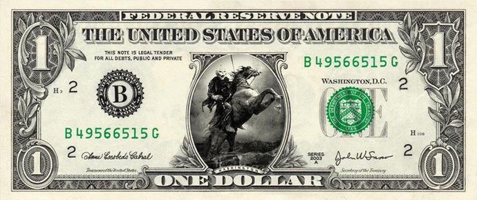 HEADLESS HORSEMAN on a REAL Dollar Bill Cash Money Memorabilia Novelty