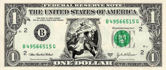 KING ARTHUR on a REAL Dollar Bill Cash Money Memorabilia Novelty Collectible