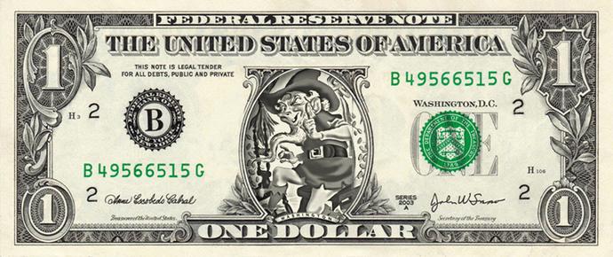 RUMPELSTILTSKIN on a REAL Dollar Bill Cash Money Memorabilia Novelty Collectible