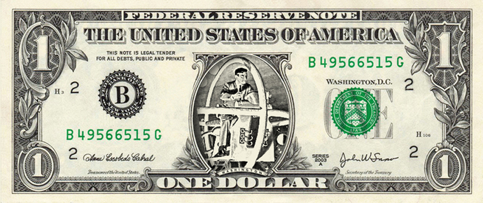 TIME TRAVELLER on a REAL Dollar Bill Cash Money Memorabilia Novelty Collectible