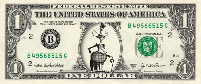 WOGGLE-BUG on a REAL Dollar Bill Cash Money Memorabilia Novelty Collectible
