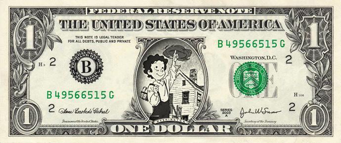 TOM SAWYER on a REAL Dollar Bill Cash Money Memorabilia Novelty Collectible