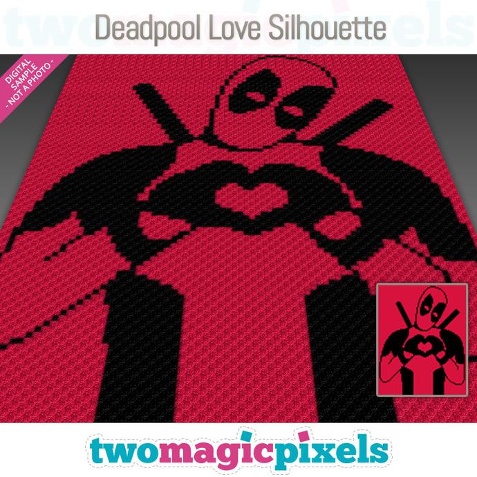 Deadpool Love Silhouette crochet graph (C2C, Mini C2C, SC, HDC, DC, TSS), cross