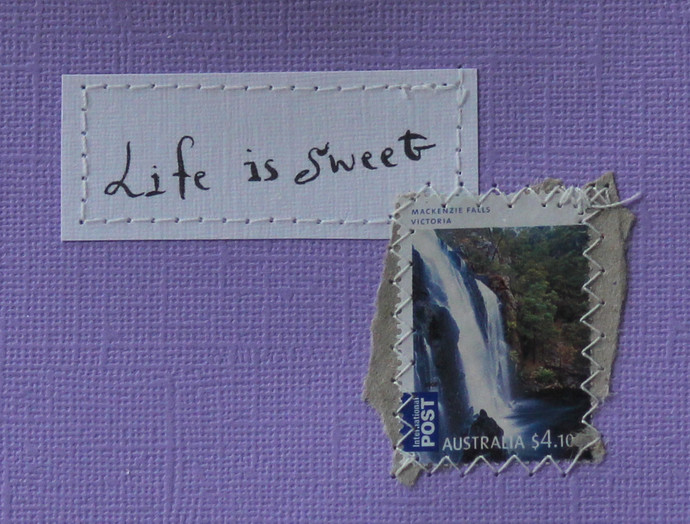 Life is sweet - Lilac card with handwritten quote and Australian postal stamp