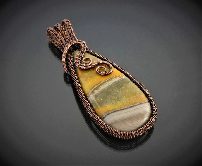 Bumblebee Jasper Copper Pendant; Wire Wrapped Woven (P123)