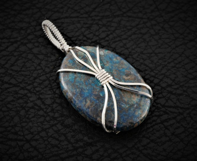 Chrysocolla Argentium Sterling Silver Pendant (P101)