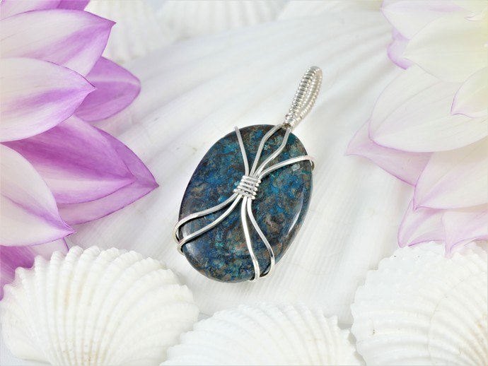 Chrysocolla Sterling Silver Pendant -  Wire Wrapped Blue Green Jewelry  -  Gift