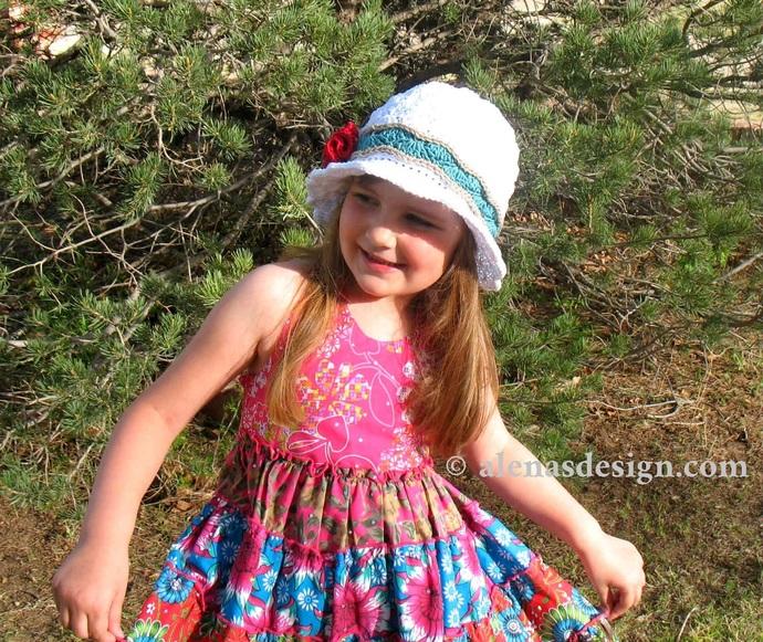 Crochet Pattern 227 Rose Sun Hat Summer Beach Hat Women Girls Ladies Toddler