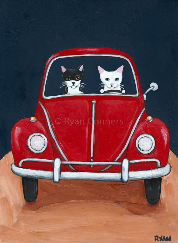 Red Car Road Trip Cats Original Cat Folk Art Painting