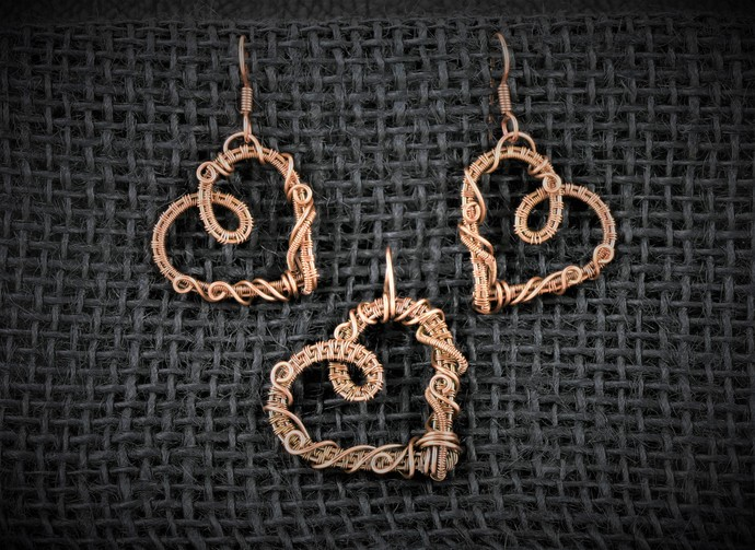 Pendant and Earrings Set; Wire Wrapped Woven Copper Heart (S101)