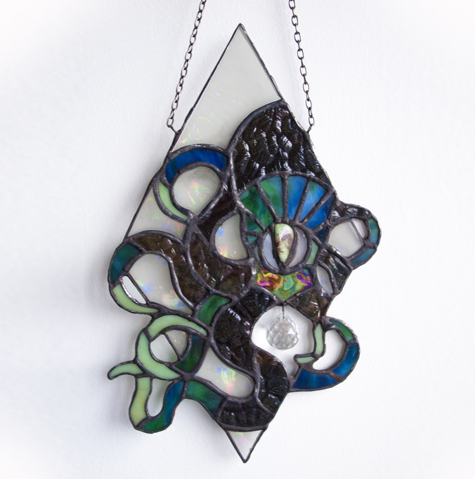 """""""Magical Life"""" Stained Glass Talisman with Diffraction Glass and Jasper"""