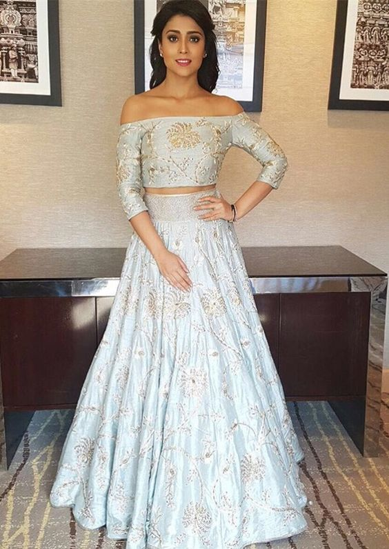 1d44c0687 two piece light blue lace prom dresses, long sleeve off the shoulder formal